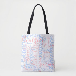 personalized handwritten names, typography tote bag