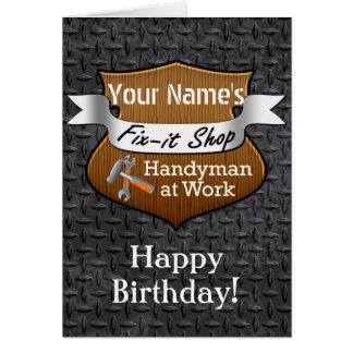 Personalized Handyman Fix-It Custom Name Birthday Card