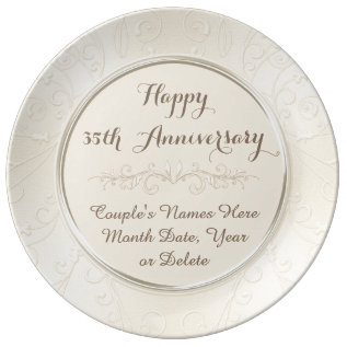 Personalized Happy 35th Anniversary Gifts Any Year Porcelain Plate at Zazzle