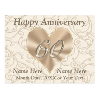 Personalized Happy 60th Anniversary Post Cards