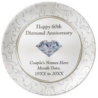 Personalized Happy 60th Diamond Anniversary Plate