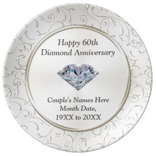 Personalized Happy 60th Diamond Anniversary Plate at Zazzle