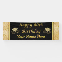 Personalized Happy 80th Birthday Banner