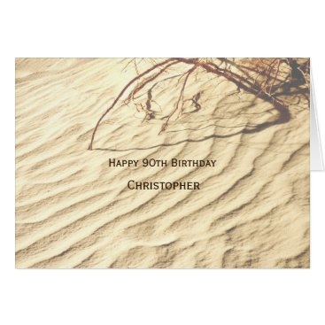 Beach Themed Personalized Happy 90th Birthday, Ripples in Sand Card