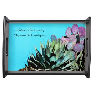 Personalized Happy Anniversary Agave and Cactus