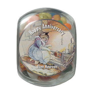 Personalized Happy Anniversary for a Chef Glass Candy Jars