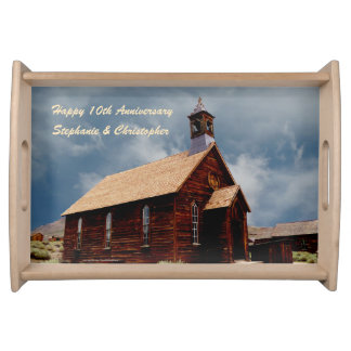 Personalized Happy Anniversary Old Vintage Church Serving Tray