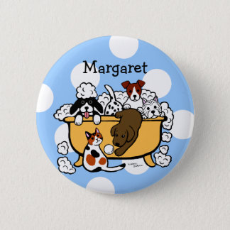 Personalized Happy Bath Time Chocolate Lab Button