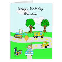 Personalized Happy Birthday Boy's Cars and Trucks Card