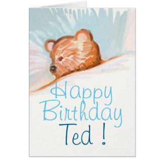 Personalized Happy Birthday card with teddy bear