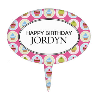Personalized Happy Birthday Cupcakes Cake Topper