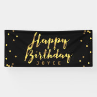 Personalized Happy Birthday Faux Gold Confetti Banner