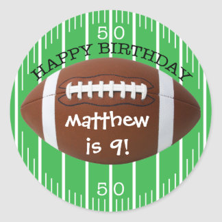 Personalized Happy Birthday Football Sticker