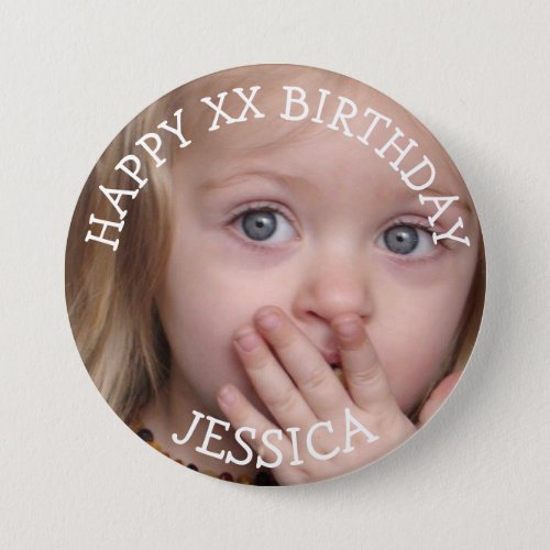 Personalized Happy Birthday Girl Button
