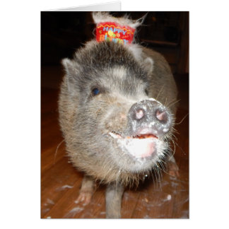 Personalized Happy Birthday Mini Pig Card
