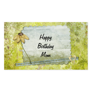 Personalized Happy Birthday Mom Flower Heart Business Card