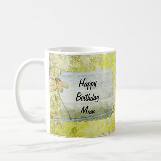 Personalized Happy Birthday Mom Flower Heart Coffee Mug