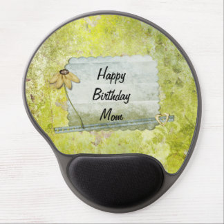 Personalized Happy Birthday Mom Flower Heart Gel Mouse Mat