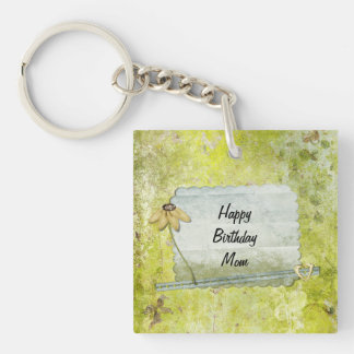 Personalized Happy Birthday Mom Flower Heart Keychain