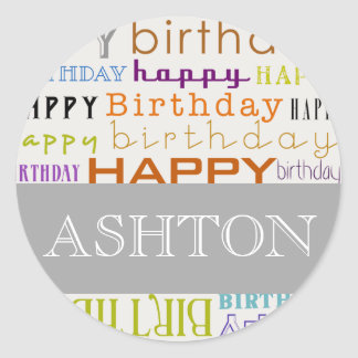 Personalized Happy Birthday Round Stickers (Large)