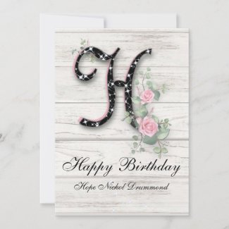 Personalized Happy Birthday Whitewashed Pink Roses Card