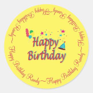 Personalized Happy Birthday Yellow Custom Classic Round Sticker