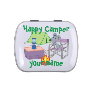Personalized Happy Camper Jelly Belly Candy Tin