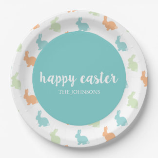 Personalized Happy Easter Bunny Paper Plate Blue