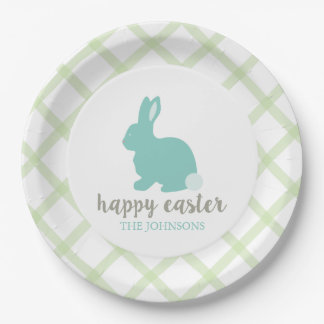 Personalized Happy Easter Bunny Paper Plate Mint