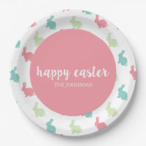 Personalized Happy Easter Bunny Paper Plates