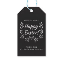 Personalized Happy Easter Chalkboard Typography Gift Tags