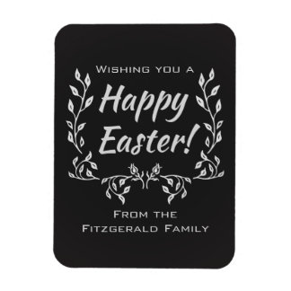 Personalized Happy Easter Chalkboard Typography Rectangular Photo Magnet