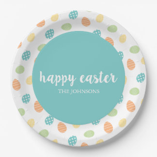 Personalized Happy Easter Egg Paper Plate Blue