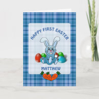 Personalized Happy First Easter Baby Boy Card