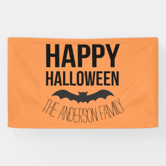 Personalized Happy Halloween Cartoon Bat Banner