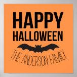 Personalized Happy Halloween Cartoon Bat Poster