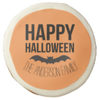 Personalized Happy Halloween Cartoon Bat Sugar Cookie