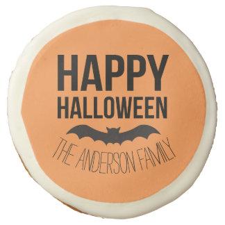 Personalized Happy Halloween Cartoon Bat Sugar Cookie
