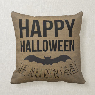 Personalized Happy Halloween Rustic Bat Throw Pillow