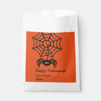 Personalized Happy Halloween Spider Favor Bags