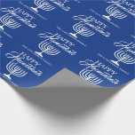 "Personalized HAPPY HANUKKAH Blue Menorah Wrapping Paper<br><div class=""desc"">Wrap your gifts with these elegant Jewish Holiday HAPPY HANUKKAH Chanukah wrapping paper.  Navy blue background with white Menorah.  Personalize by adding message or name or delete.</div>"