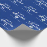 """Personalized HAPPY HANUKKAH Blue Star of David Wrapping Paper<br><div class=""""desc"""">Wrap your gifts with these elegant Jewish Holiday HAPPY HANUKKAH Chanukah wrapping paper.  Navy blue background with star of DAVID.  Personalize by adding message or name or delete.</div>"""