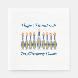 Personalized Happy Hanukkah Menorah Paper Napkin