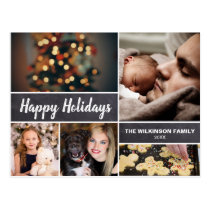 Personalized Happy Holiday Christmas Photo collage Postcard