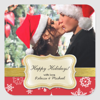 Personalized Happy Holiday Photo Christmas Sticker