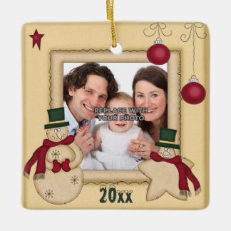 Personalized Happy Holiday Xmas Photo Ornament
