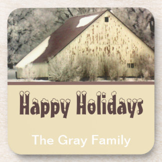 Personalized Happy Holidays Barn in Winter Snow Coaster