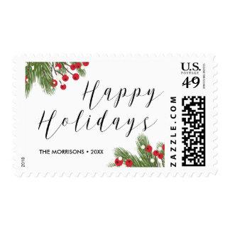Personalized Happy Holidays Botanical Pine Berry Postage