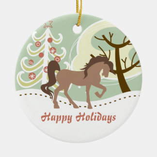 Personalized Happy Holidays Brown Horse Winter Ceramic Ornament