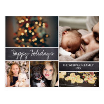 Personalized, Happy Holidays, Chalkboard, Photo Postcard